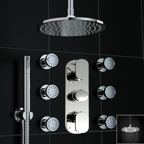 Concealed Thermostatic Mixer Shower Round Body Jet Set White Led