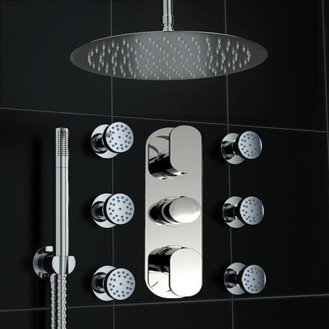 Concealed Thermostatic Mixer Shower Round Ceiling 300mm Massage Body Jet Set