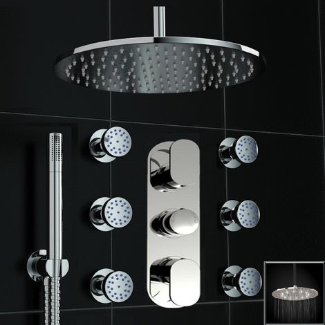 Concealed Thermostatic Mixer Shower Round Led 300mm Body Jet Set