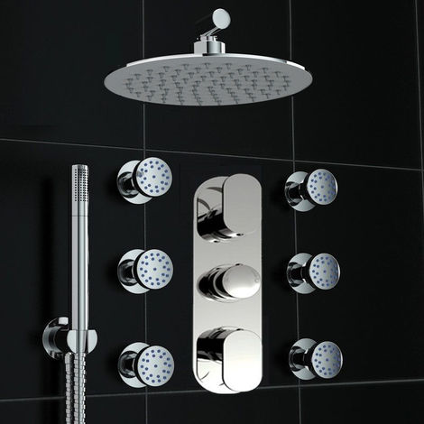 Concealed Thermostatic Mixer Shower Round Massage Body Jet Set Brass