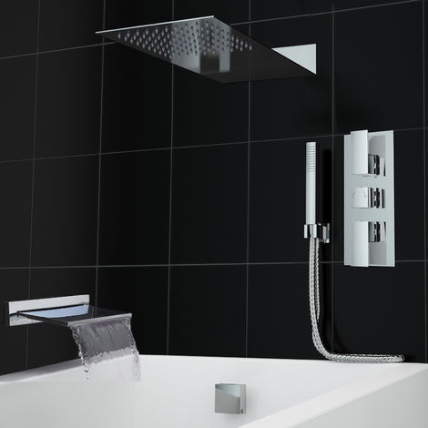 Concealed Thermostatic Mixer Shower Valve Waterfall Bath Filler Set