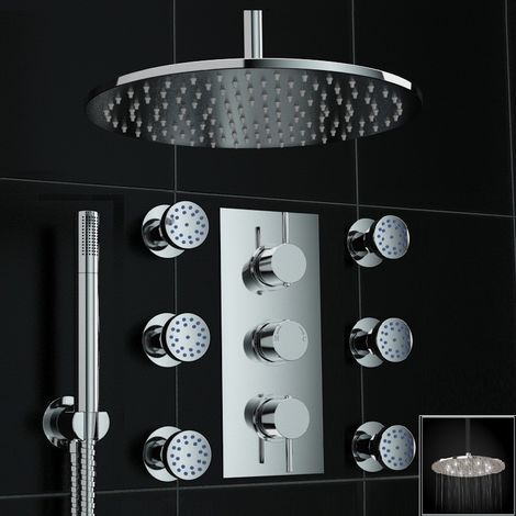 Concealed Thermostatic Mixer Shower White Led Massage Set