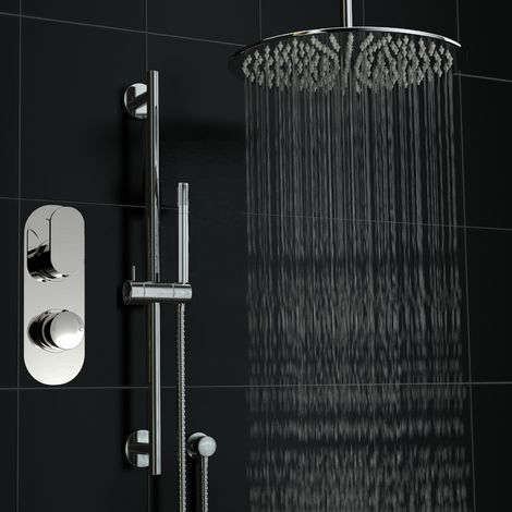 Concealed Thermostatic Twin With Diverter Shower 400mm Ceiling Set