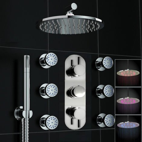 Concealed Thermostatic Valve Mixer Shower Massage Body Jets Col Led Set Chrome