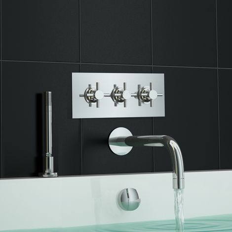 Concealed Thermostatic Wall Mounted Bath Shower Mixer Tap Set + Shower