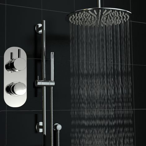Concealed Twin Diverter Thermostatic Round Shower 400mm Ceiling Set