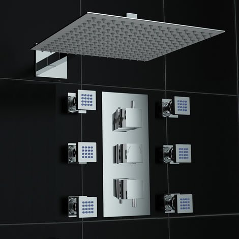 Concealed Wall Mounted Square 300mm Thermostatic Mixer Shower