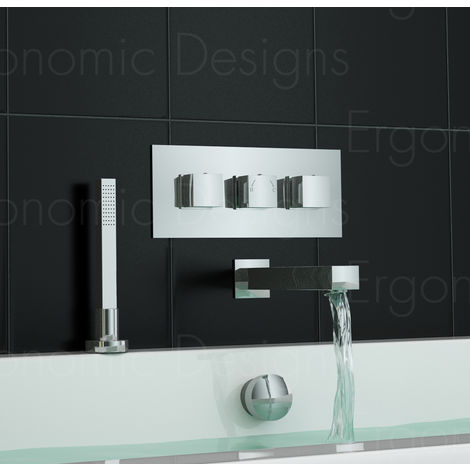 Concealed Wall Mounted Thermostatic Bath Shower Mixer Tap And Handheld