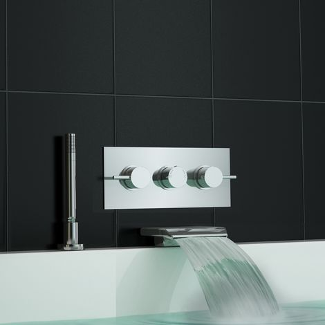Concealed Wall Mounted Thermostatic Mixer Waterfall Bath Shower Tap