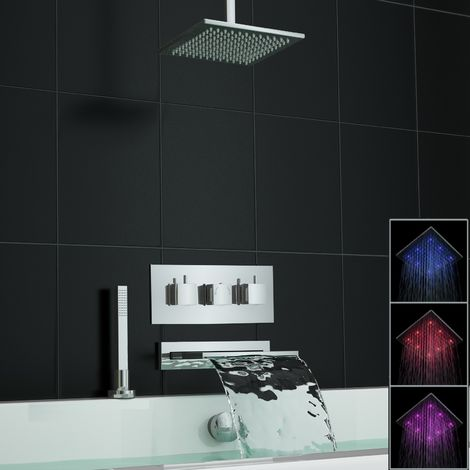 Concealed Waterfall Thermostatic Mixer Bath Shower Ceiling Set Led