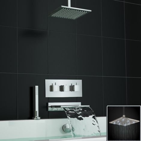 Concealed Waterfall Thermostatic Mixer Bath Shower Ceiling White Leds