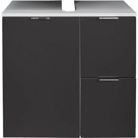 CONCEPT ONE - Meuble de salle de bain. Meuble sous-vasque en melanimé gris et blanc . L - H - P : 60 / 64 / 34 cm - Gris/ Blanc