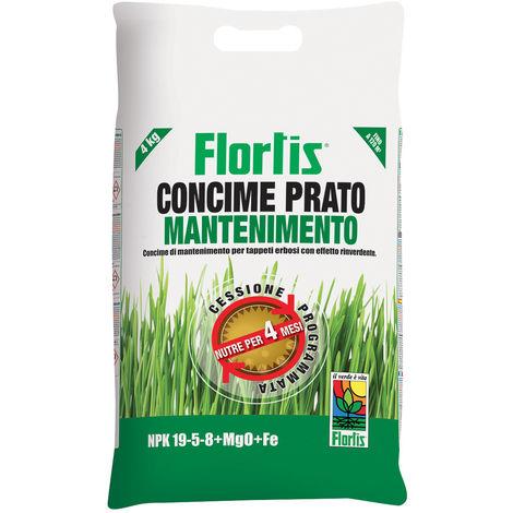 CONCIME GRANULARE PRATO MANTENIMENTO 4 KG FLORTIS PROTEZIONE CONCIME PIANTE GIARDINO