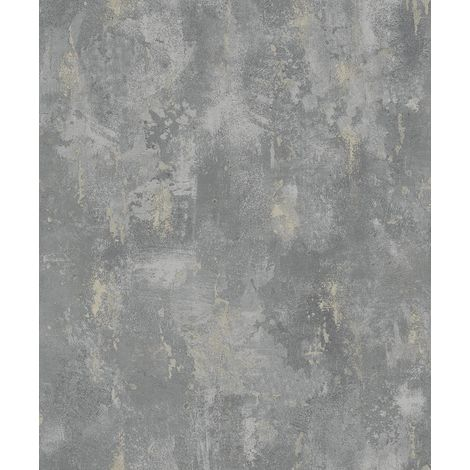 Concrete Industrial Stone Distressed Wallpaper Metallic Grey Silver Paste Wall