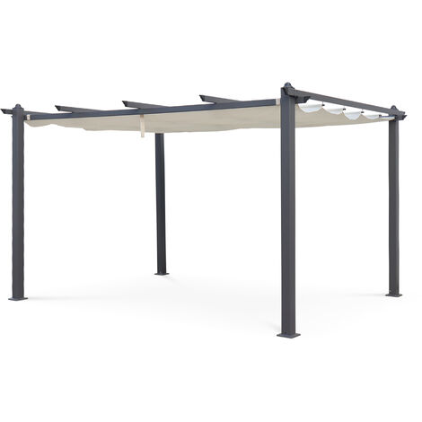 Charmant Condate: Aluminium Pergola 3x4m With Retractable Canopy, Off White
