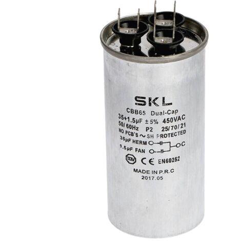 """main image of """"Condensador 35 + 1,5µf 450v de Aire Acondicionado Metalico Trabajo Standard"""""""