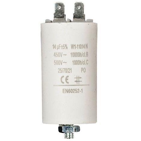 Condensador de arranque para motor electrico 14.0 uF 450 VAC Blanco