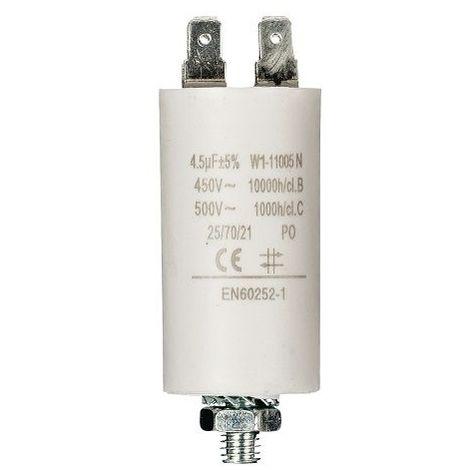 Condensador de arranque para motor electrico 4.5 uF 450 VAC Blanco
