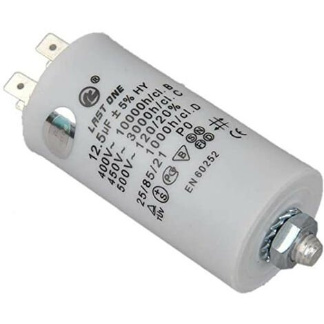 Condensador Trabajo Motor 12,5uF 450Vac Medidas 35x68mm Terminales FASTON Y M8 12AG007
