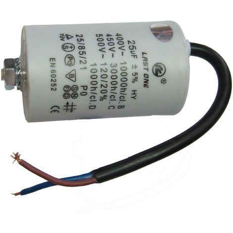 Condensador Trabajo Motor 14uF 450Vac 42x70mm Terminales CABLES