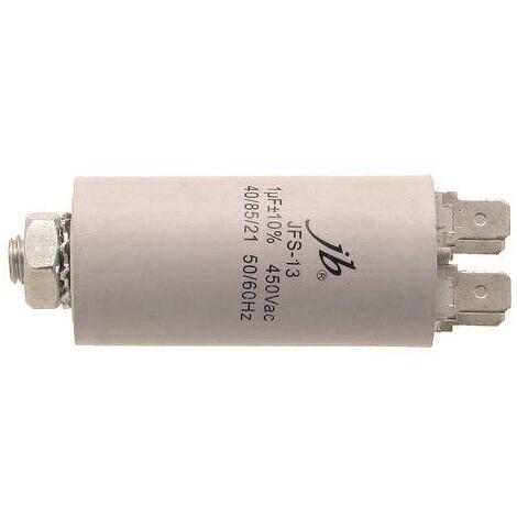 Condensador Trabajo Motor 1uF 450Vac Medidas 30x60mm FASTON Y M8 1MF450V