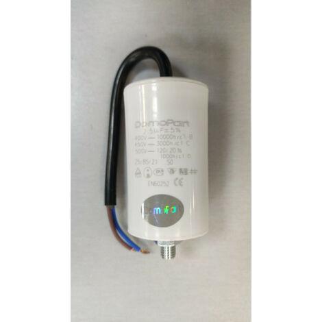 Condensador Trabajo Motor 2,5uF 450Vac Medidas 30x59mm Con CABLES