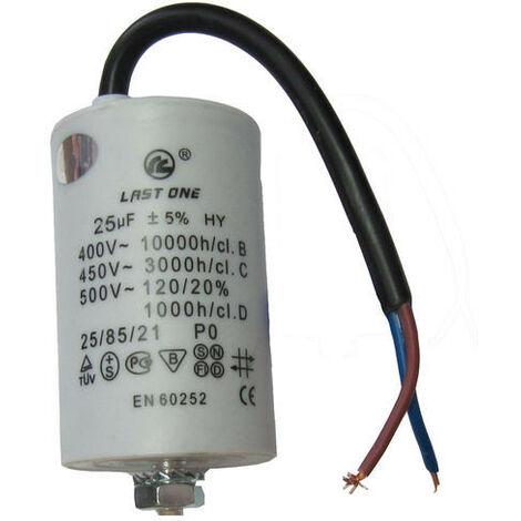Condensador Trabajo Motor 25uF 450Vac Medidas 45x95mm Con CABLES 12AG125