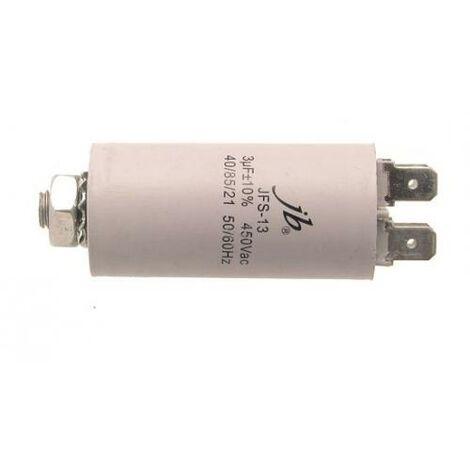 Condensador Trabajo Motor 3uF 450Vac 30x60mm FASTON Y M8 3MF450V 12AG026