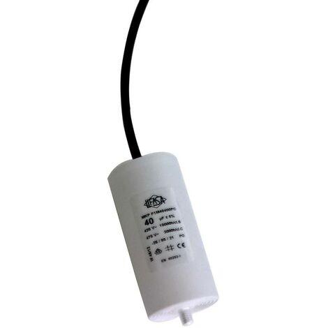Condensador Trabajo Motor 40uF 450Vac 45x92mm Con CABLES 12AG140