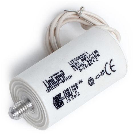 Condensateur 8 Uf 250Vac 10% 50/60HzCâbles 200mm (UR-LCP0080021IETI)
