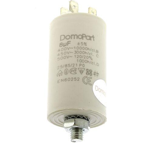 Condensateur 8µf 400v pour Lave-linge Bosch, Seche-linge Bosch, Seche-linge Miele, Lave-linge Siemens, Seche-linge Siemens, Seche-linge Ariston, Sech