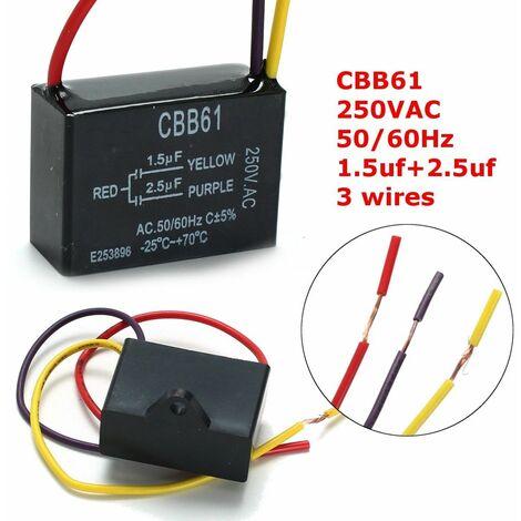 Condensateur de ventilateur noir 1 pc CBB61 1.5uF + 2.5uF 3 fils condensateur ca 250V 50 / 60Hz pour ventilateur de plafond
