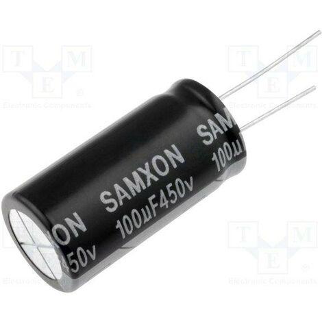 "main image of ""Condensateur électrolytique 100uf 450vdc 105ºc Taille 18x40mm Radial 100mf450v/105/rd"""
