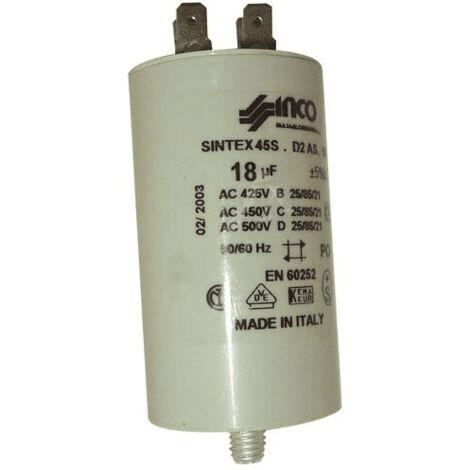 Condensateur Permanent 18µf 450v 490364 Pour LAVE LINGE
