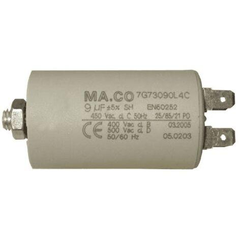Condensateur Permanent 9µf 450v 284978 Pour LAVE LINGE