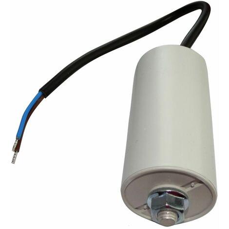 Condensateur permanent de travail pour moteur 20µF 450V précâblé Ø40x78mm ±10% 10000h