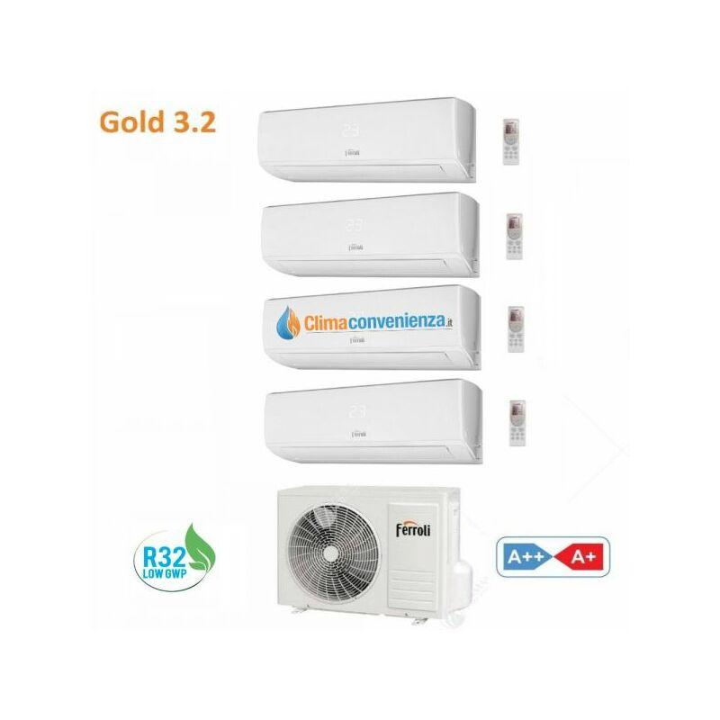 Condizionatore Climatizzatore Ferroli Quadri Split Serie Gold 3.2 9000+9000+9000+18000 Con U.E. 28 4 Gas