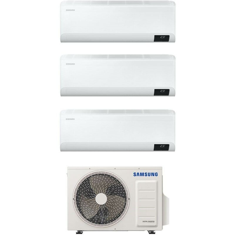 Caesaroo Condizionatore trialsplit Samsung Cebu da 9000 + 9000 + 9000 Btu con gas R32 Wifi   Bianco Stand