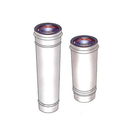 Conduit INOX/GALVA blanc CONCENTRIQUE - intérieur isolé - L 1000 mm