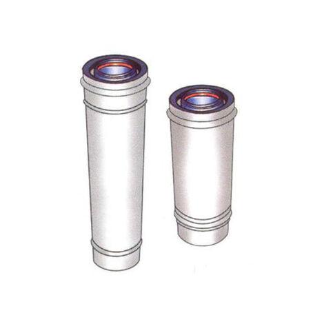 Conduit INOX/GALVA blanc CONCENTRIQUE - intérieur isolé - L 500 mm