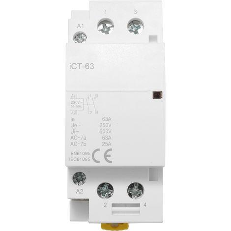Conector de CA para el hogar, contactor modular de 220V 50/60Hz postes bobina de CA,63A 2P