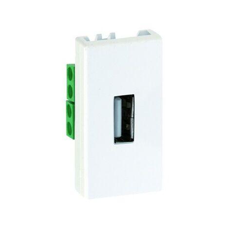 Conector estrecho con tapa USB hembra blanco Simon 27 2701090-030