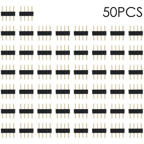 Conector macho de 4 pines, para iluminacion de tira de LED RGB, 50PCS, negro