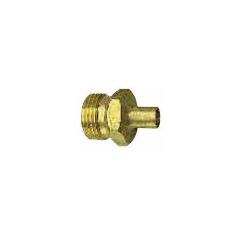 Conector macho, rosca izquierda para la botella, a 14 mm de cobre para soldar