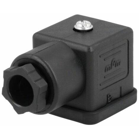 Conector mPm® para electroválvulas Negro 2 polos + tierra cuadrado 18mm