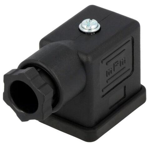 Conector mPm® para electroválvulas Negro 2 polos + tierra rectangular 11mm