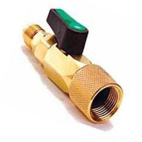 Conector Valvula Bola 1/4H x 3/8M Sae Llave Paso Gas Refrigerante