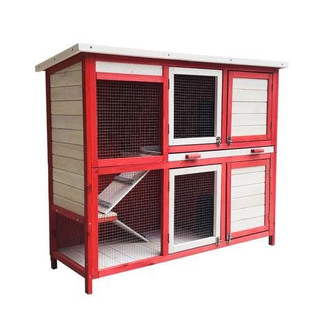 Conejera con escalera y dos niveles Rojo y blanco Caseta con suelo extraíble y tejado plegable