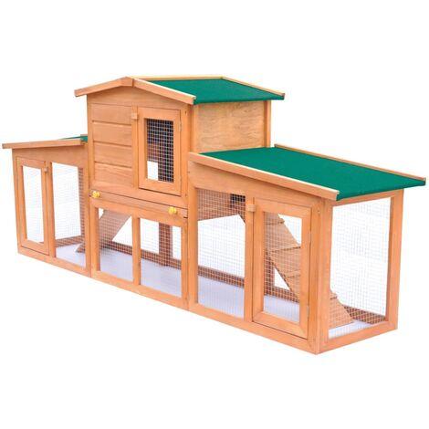 vidaXL Casa de animales pequeños jaula conejera con tejados madera   - Marrone