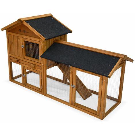 Conejera de madera HOTOT para conejos y otros roedores, 4 conejos, jaula para conejos con cerramiento, espacio interior y exterior, gallinero